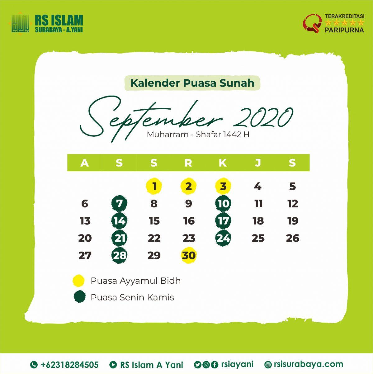 Kalender Puasa Sunnah September Rs Islam Surabaya